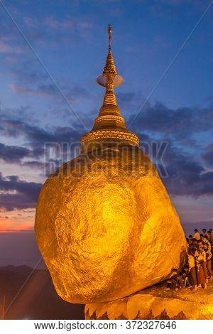 Kyaiktiyo, Myanmar - December 11, 2016: Golden Rock Kyaiktiyo Pagoda During Sunset, Myanmar