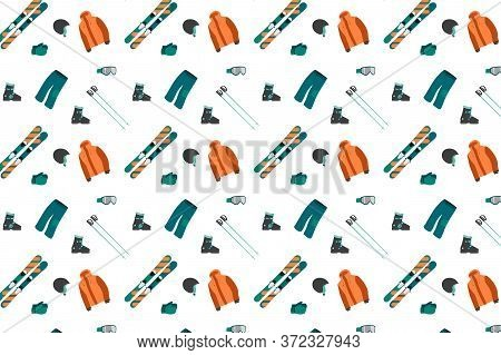 Seamless Pattern Ski Equipment Kit Clothes Vector Illustration. Extreme Winter Sport. Set Skis And S