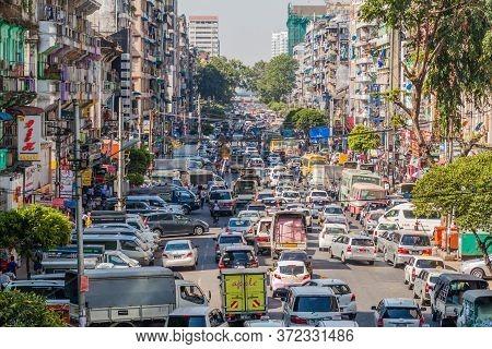 Yangon, Myanmar - December 16, 2016: Traffic Jam In Central Yangon.