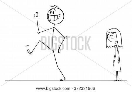 Cartoon Stick Figure Drawing Conceptual Illustration Of Happy Smiling Man Leaving Sad Depressed Woma