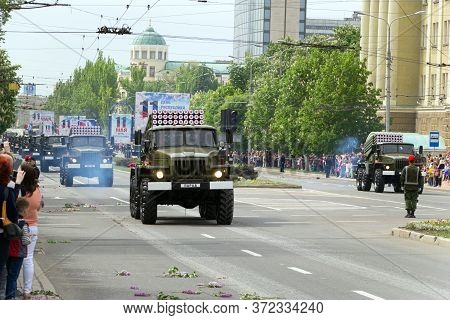 Donetsk, Donetsk Peoples Republic, Ukraine, May 9, 2018. A Column Of Grad Multiple Launch Rocket Sys