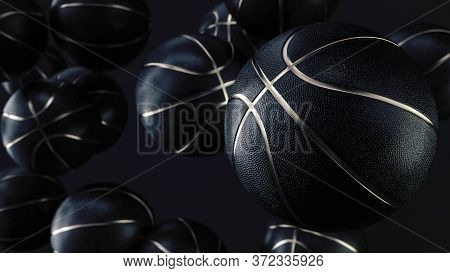 Many Black Basketball Balls With Gold Metallic Line In An Endless Pile Seen From The Front. Dark Bac