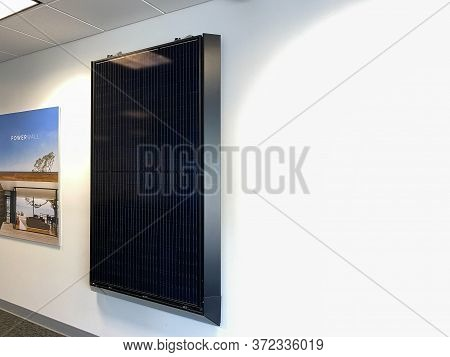 Tampa, Fl/usa-5/31/20: A Tesla Solar Panel At The Tesla Dealership In Tampa, Fl.  Tesla, Inc. Is An