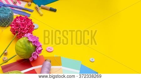 Diy. Banner. Craft Supplies And Tool On Yellow Background. Womens Hobby - Sewing, Embroidery, Felt C