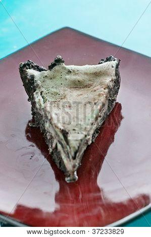 Plated ice cream pie slice