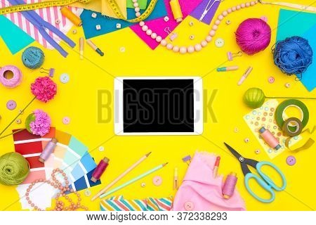 Online Shopping Training Education. Diy Workplace With Craft Equipment On Yellow Background. Womens