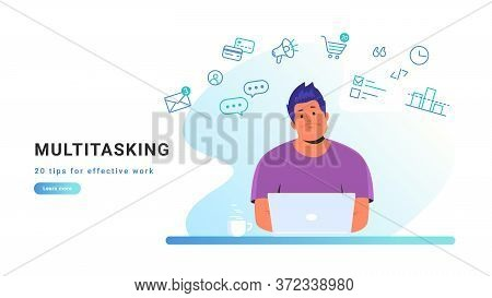 Multitasking And Working With Laptop At Home. Flat Line Vector Illustration Of Upset Man Sitting At