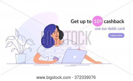 Happy Smiling Woman Sitting With Laptop And Holding A Bank Card. Flat Modern Vector Illustration Of