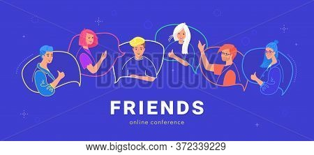 Happy Teenagers On Speech Bubbles Talking Together. Flat Line Vector Illustration Of Live Conversati