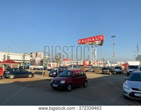 Offenburg, Germany - Jan 21, 2020: Large View Over Parking At The Diy Store Bauhaus In Germany Custo