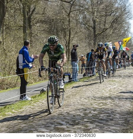 Wallers,france - April 12,2015: The French Cyclist Morgan Lamoisson Of Europcar Team Riding In The P