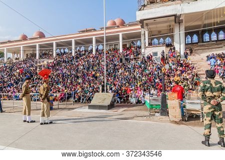 Wagah, India - January 26, 2017: Indian Spectators Watch The Military Ceremony At India-pakistan Bor