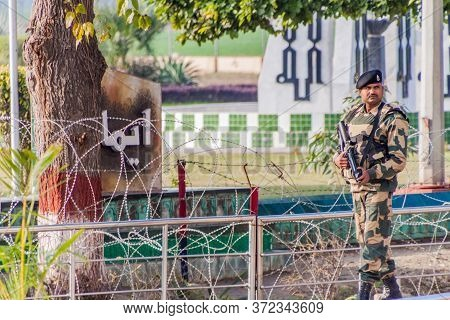 Wagah, India - January 26, 2017: Soldier Guarding At India-pakistan Border In Wagah In Punjab, India