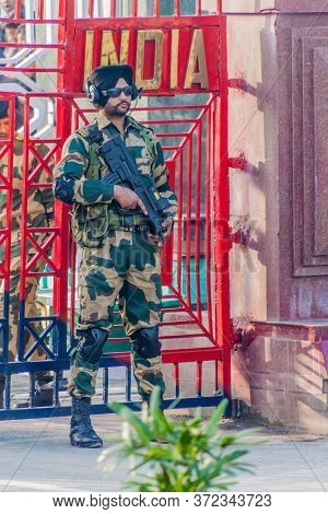 Wagah, India - January 26, 2017: Border Guard At The Military Ceremony At India-pakistan Border In W