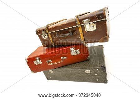 Vintage Suitcase Over White Background. Isolated On White Background