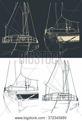 Catamaran Outline Close Up