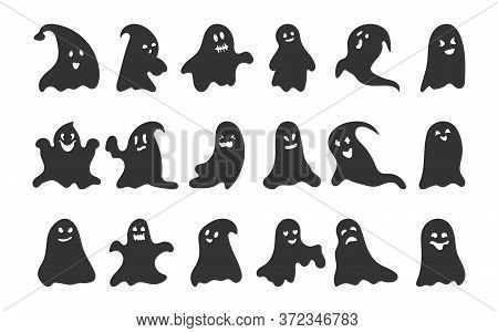 Black Silhouette Ghost Set. Happy Halloween Character With Scary Or Surprised Face Shape. Creepy Fun