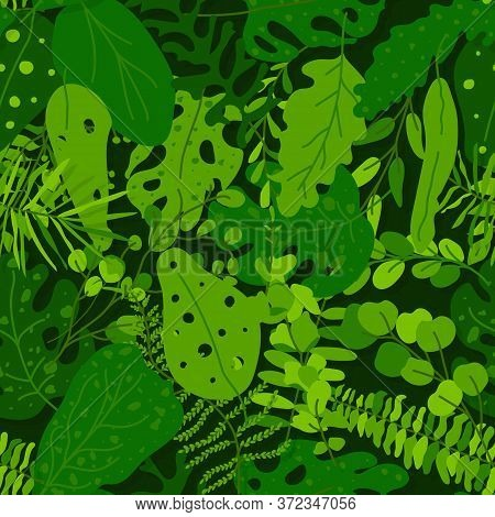 Green Tropical Leaves Seamless Pattern. Limitless Background With Exotic Floral Flat Cartoon Element
