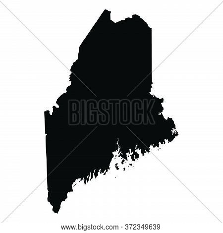 Maine Me State Maps. Black Silhouette And Outline Isolated On A White Background. Eps Vector