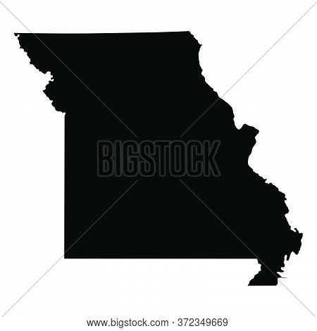 Missouri Mo State Maps. Black Silhouette And Outline Isolated On A White Background. Eps Vector