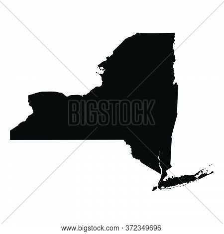 New York Ny State Maps. Black Silhouette And Outline Isolated On A White Background. Eps Vector
