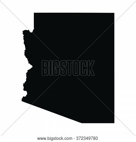 Arizona Az State Map Usa. Black Silhouette And Outline Isolated Maps On A White Background. Eps Vect
