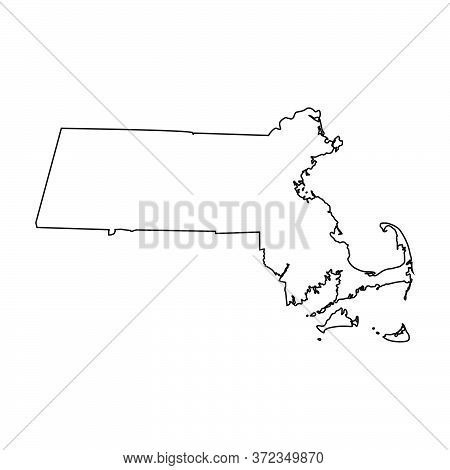 Massachusetts Ma State Maps. Black Silhouette And Outline Isolated On A White Background. Eps Vector