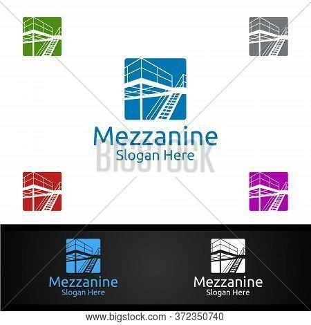 Mezzanine Flooring Logo For Parquet Wooden Or Vinyl Hardwood Granite Tile Vector Design