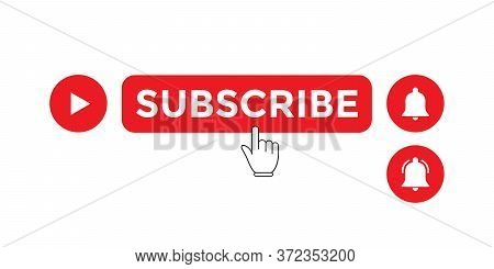 Subscribe Button Vector For Channel In Trendy Flat Style Isolated On White Background