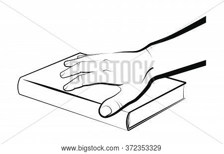 Man Holds His Palm On A Closed Book. President Oath On The Bible, Constitution. Selection Of New Lea