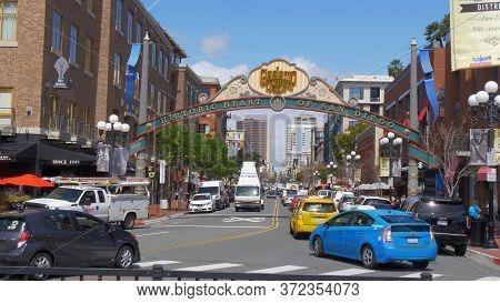 Gaslamp Quarter In San Diego Downtown - San Diego, Usa - March 18, 2019