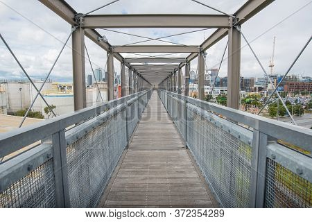 Auckland, New Zealand : 22 September 2017 : Perspective View On The Metal Gantry In Silo Park The In