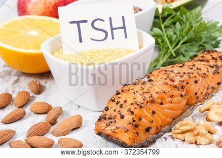 Dietary And Beneficial Eating For Thyroid Gland. Food As Source Natural Healthy Vitamins And Mineral