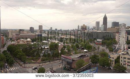 Olympic Par And Skyline Of Atlanta - Aerial View - Atlanta, Georgia - April 21, 2016