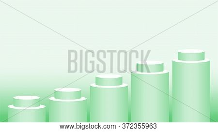 Pedestal Cylinder Circle Green Pastel Color For Cosmetics Showcase, Podium Circle Stage Green Soft C