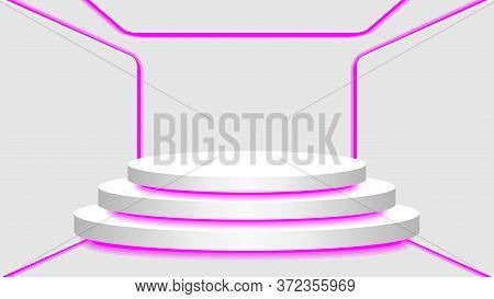 Pedestal 3d And Purple Light Neon Lamp Glowing In Empty Interior Room, Cosmetics Display Modern And