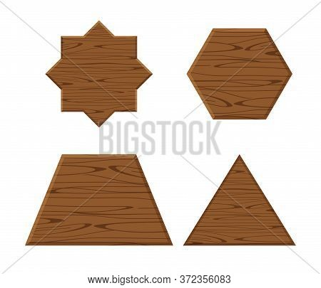 Wooden Plank Different Collection Isolated On White Background, Wooden Eight Pointed Star, Trapezoid
