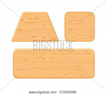 Wooden Plank Different Collection Isolated On White Background, Trapezoid Wood Shape, Wooden Square,