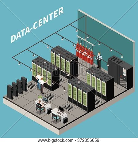 Isometric And Colored Datacenter Composition With Server Room Security And It Staff Vector Illustrat