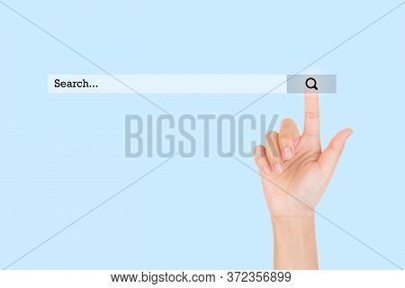 Searching And Browsing Internet Information Concept : Finger Touching Find Icon Symbol On Internet B