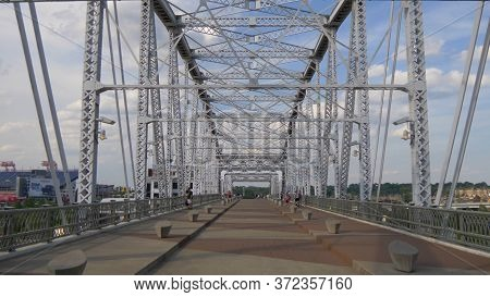 Steel Construction Of John Seigenthaler Pedestrian Bridge To Nashville - Nashville, Usa - June 17, 2