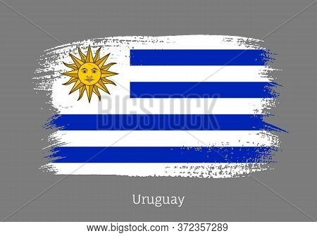 Uruguay Republic Official Flag In Shape Of Paintbrush Stroke. Uruguayan National Identity Symbol For