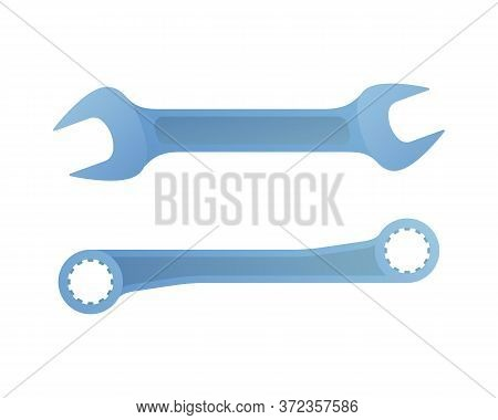 Steel Wrenches Icon In Cartoon Style. Carpentry Hand Tool Element Isolated On White Background. Meta