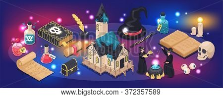 Magical Narrow Background With Sparks Magic Book Magic Wand All Seeing Eye Sorcerers Isometric Icons