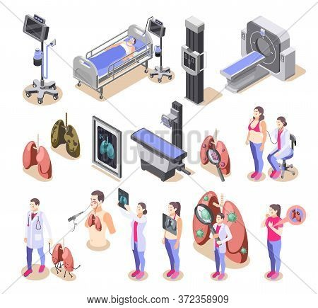 Lung Inspection Icons Set With Treatment Symbols Isometric Isolated Vector Illustration