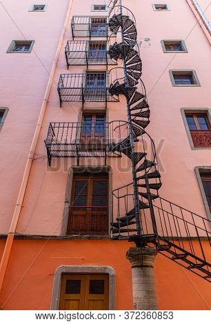 Colorful Fire Scape Stairway In Spiral, In The Mexican City Of Guanajuato