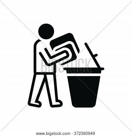 Black Solid Icon For Declutter Dustbin People Throw