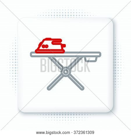 Line Electric Iron And Ironing Board Icon Isolated On White Background. Steam Iron. Colorful Outline