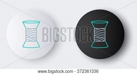 Line Sewing Thread On Spool Icon Isolated On Grey Background. Yarn Spool. Thread Bobbin. Colorful Ou