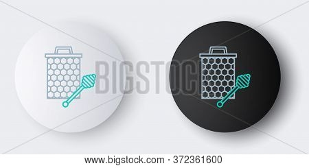 Line Honeycomb With Honey Dipper Stick Icon Isolated On Grey Background. Honey Ladle. Honey Cells Sy
